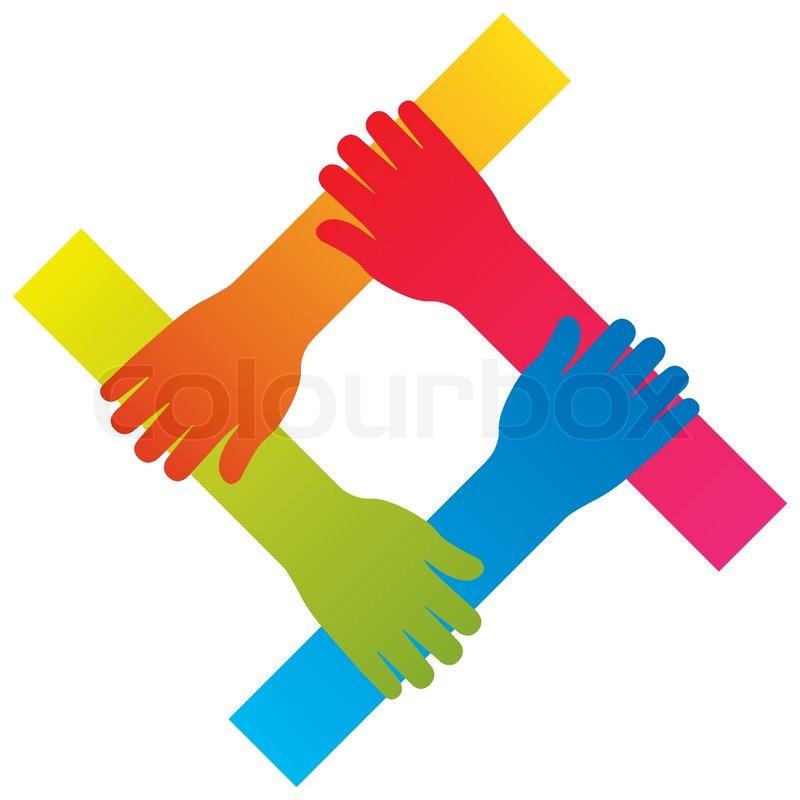 Beliebten Hand Verbindet Teamarbeit Symbol Konzept