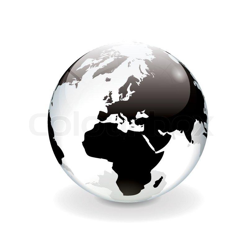 wei schwarz vektor welt globus europa stock vektor