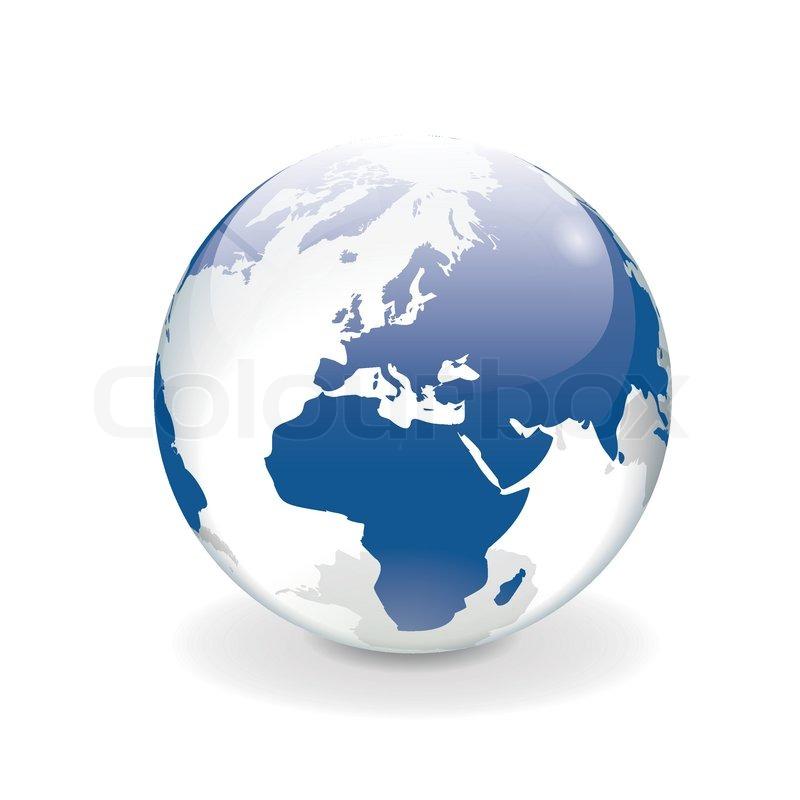 Weiß Rot Blaue Flagge: Weiß Blau Vektor Welt Globus - Europa