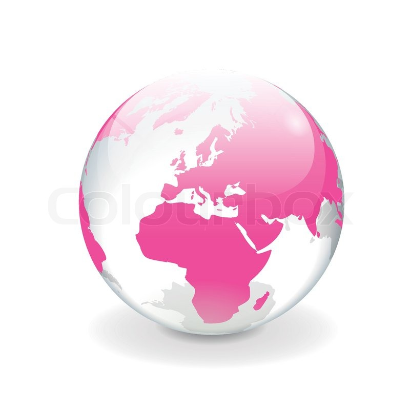 White Pink Vector World Globe Europe Stock Vector