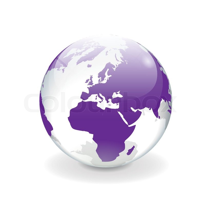 white purple vector world globe europe stock vector