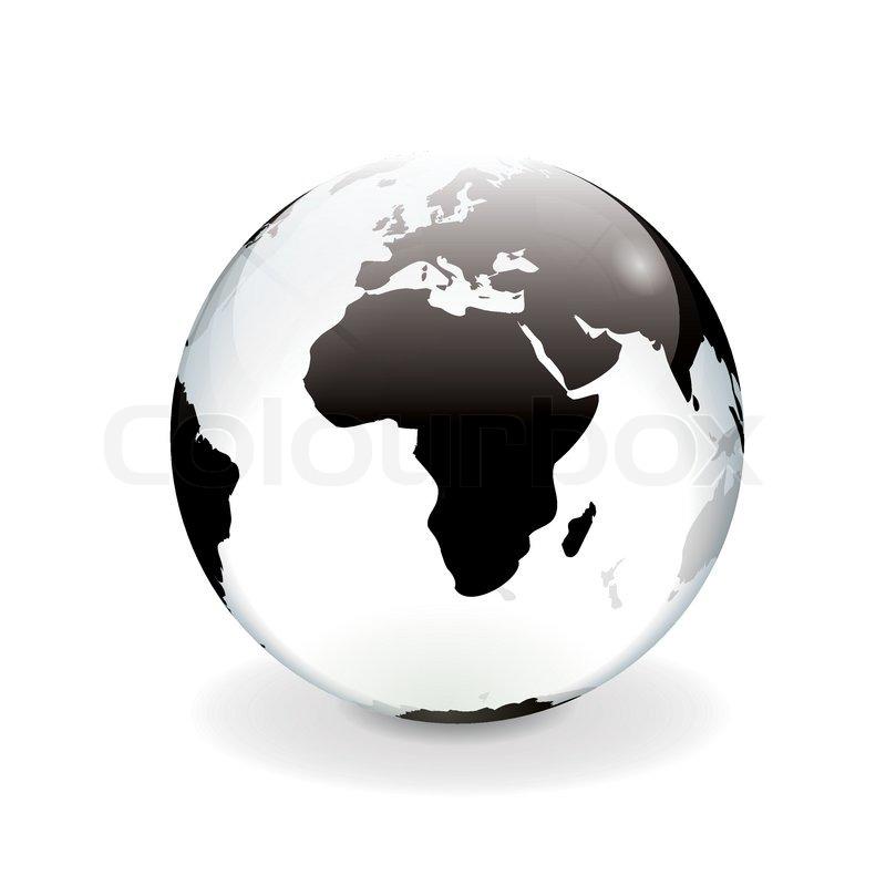 White black vector world globe - africa | Stock Vector ...