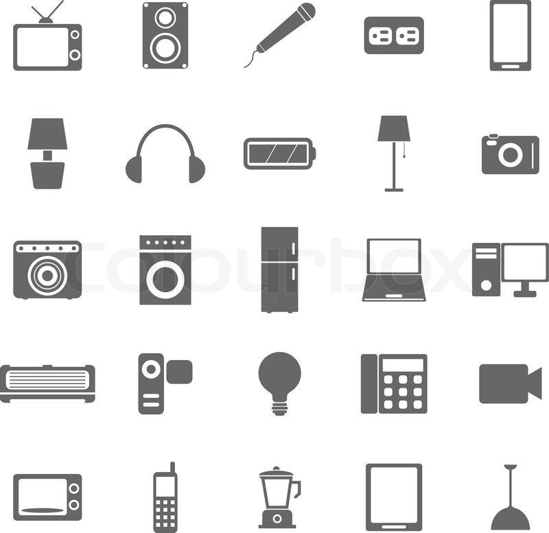 Elektrische Maschine Symbole auf weißem Hintergrund | Vektorgrafik ...