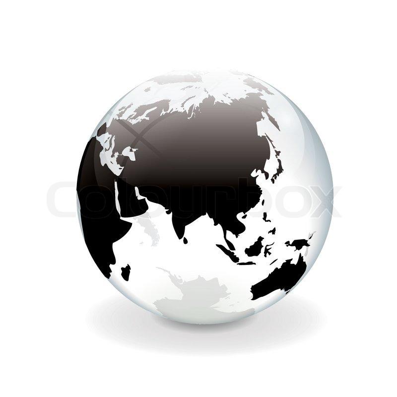 White black vector world globe - asia | Stock Vector ...