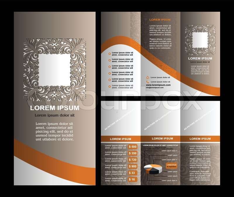 Vintage Style Brochure Template Design With Modern Art Elements