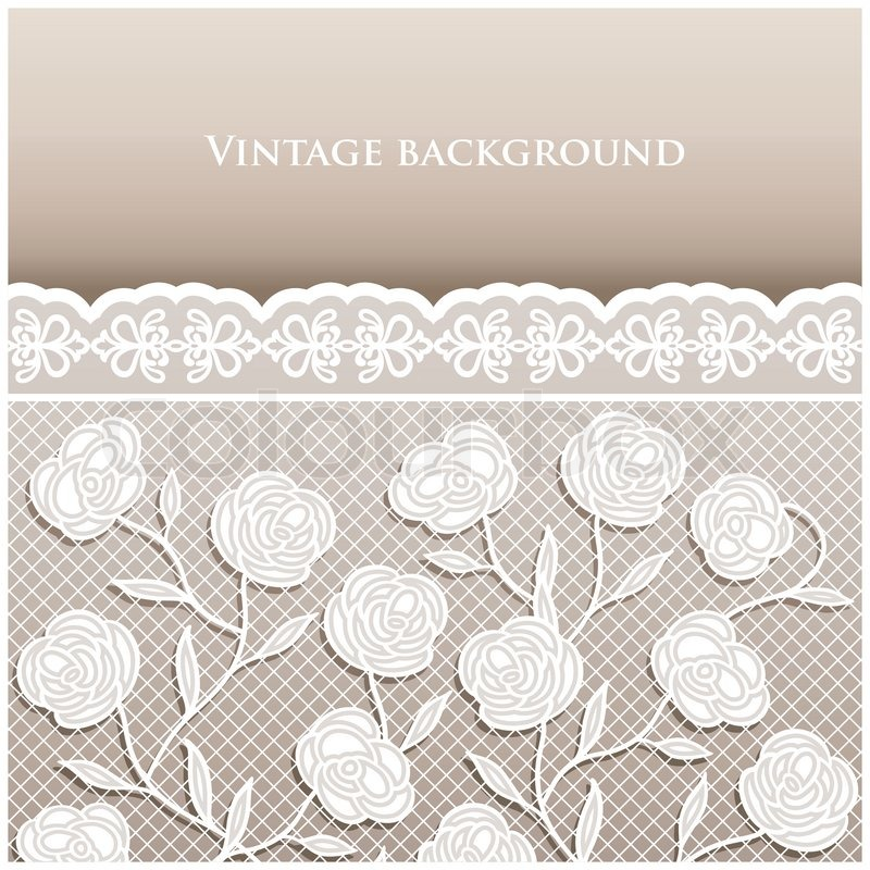 Vintage style beige wedding card with lace ornaments ...