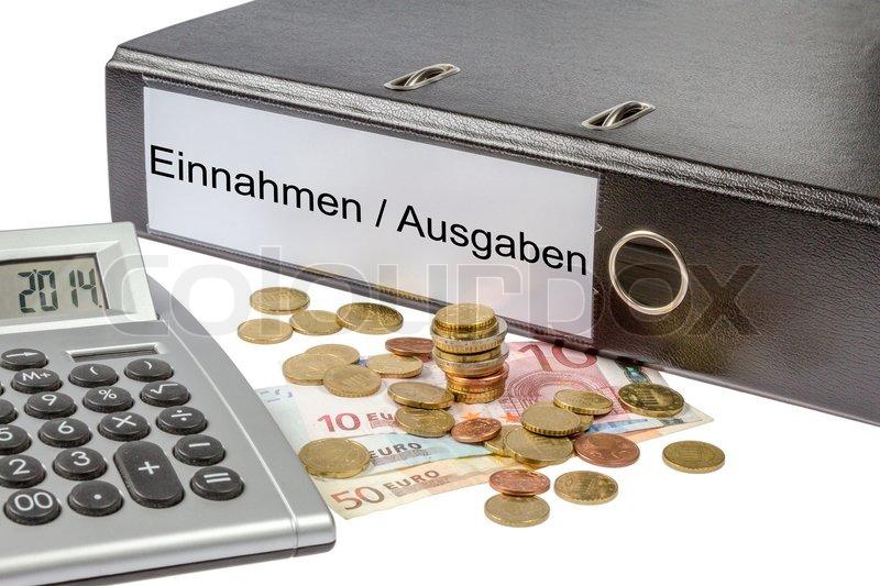 ein binder markiert wit die worte einnahme ausgabe deutschen finanzverwaltung kosten. Black Bedroom Furniture Sets. Home Design Ideas