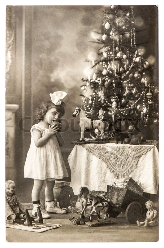 Antique Photo Of Littele Girl With Christmas Tree And