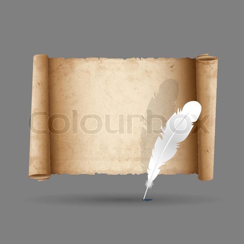 Alte Schriftrolle Papier mit Feder  Vektorgrafik  Colourbox