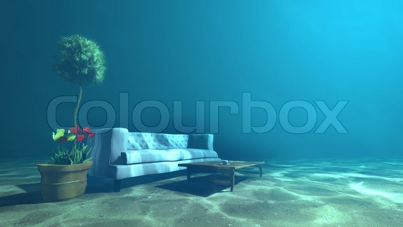 Living Room Underwater For Relaxation Concept Stock Photo
