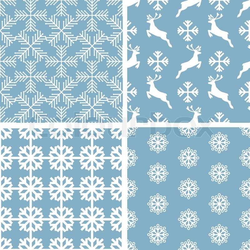 Christmas And New Year Festive Backgrounds Xmas Creative Retro Seamless Patterns Beautiful Art Fabrics Fantasy Vector Wallpapers With Blue White