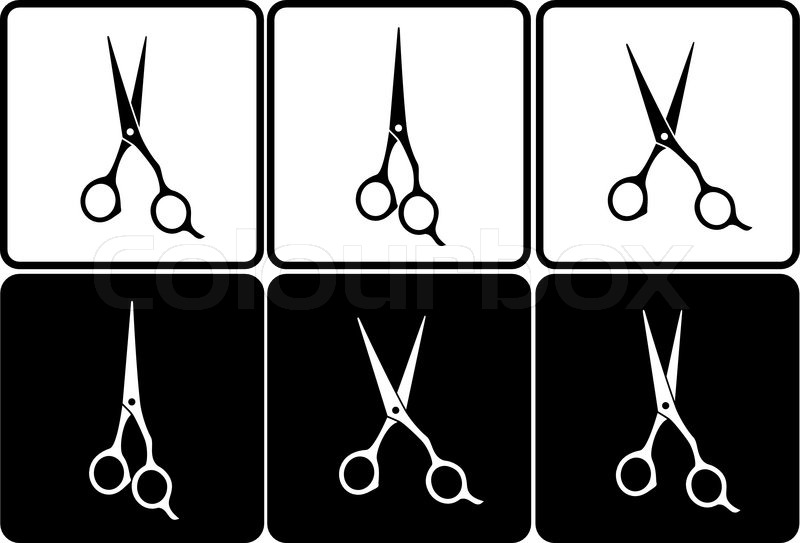 Set Of Isolated Black And White Professional Scissors In