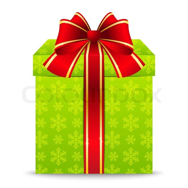 weihnachts geschenk box mit roter schleife vektorgrafik. Black Bedroom Furniture Sets. Home Design Ideas