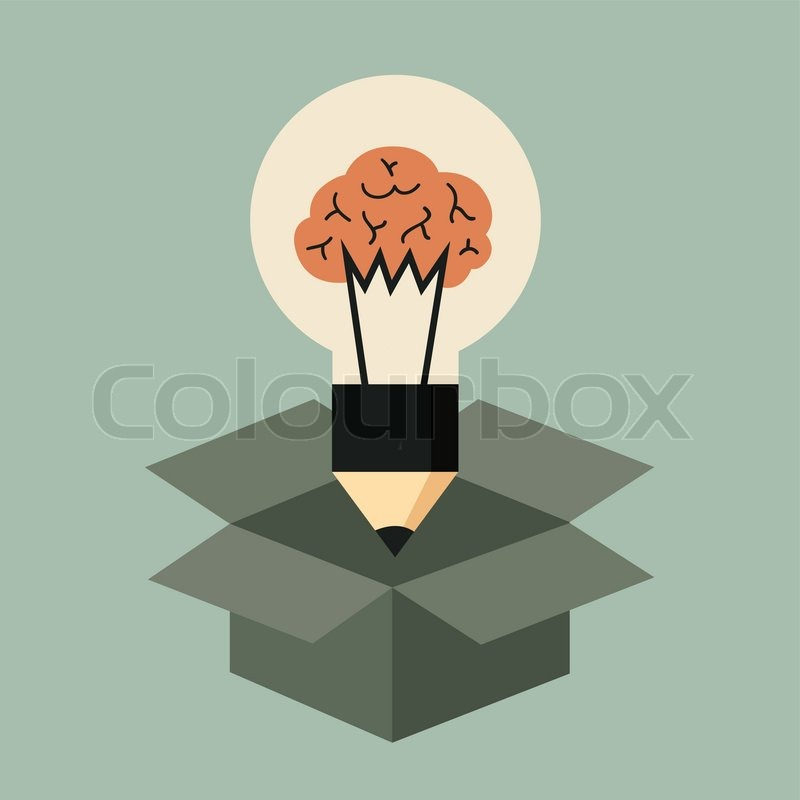think out of the box concept idea light bulb with brain stock