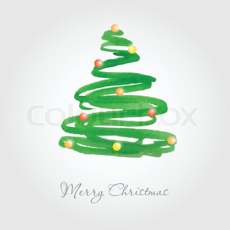 weihnachtskarte mit aquarell gemalt tannenbaum mit bunten kugeln stock vektor colourbox. Black Bedroom Furniture Sets. Home Design Ideas