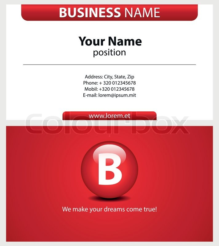 Red business card with type icon printable business card template red business card with type icon printable business card templatebackground vector design stock vector colourbox reheart Gallery