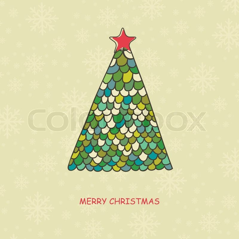 Stock vector of christmas card with watercolor painted fir tree with
