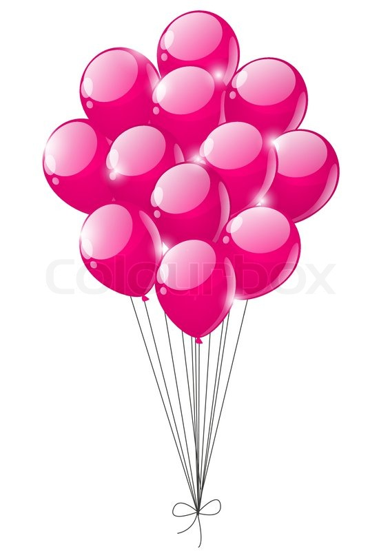 Pink Balloons On White Background
