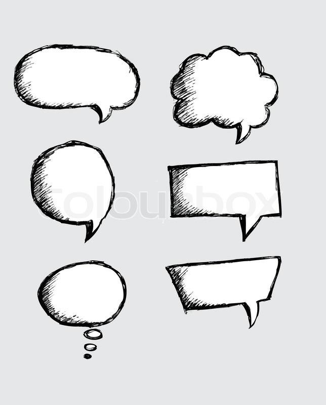 Speech Bubble Sketch hand drawn bubble ... | Stock Vector ...