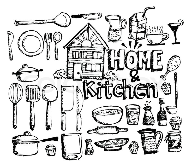 The Kitchen Sink Art Drawing Sketch Sketchbook By: Sketch Kitchen Elements Doodle Vector