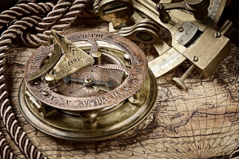 vintagestill life with compass sextant and old map stock photo colourbox. Black Bedroom Furniture Sets. Home Design Ideas