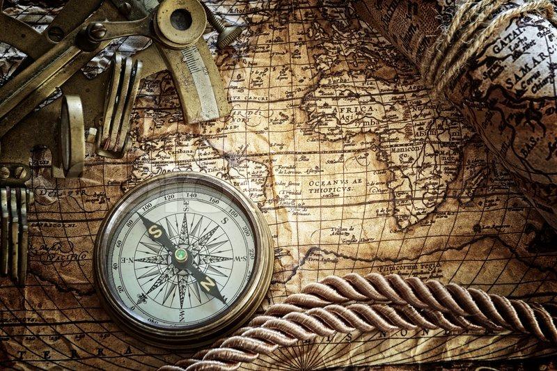 vintagestill leben mit kompass sextant stock bild colourbox. Black Bedroom Furniture Sets. Home Design Ideas