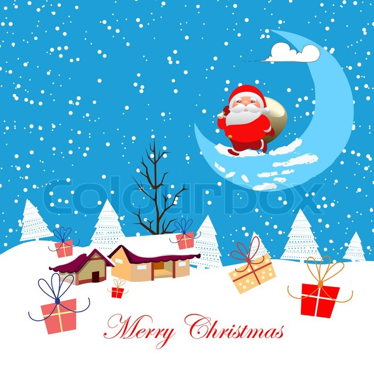 new year and christmas card cartoon concept winter background a santa claus stock photo colourbox