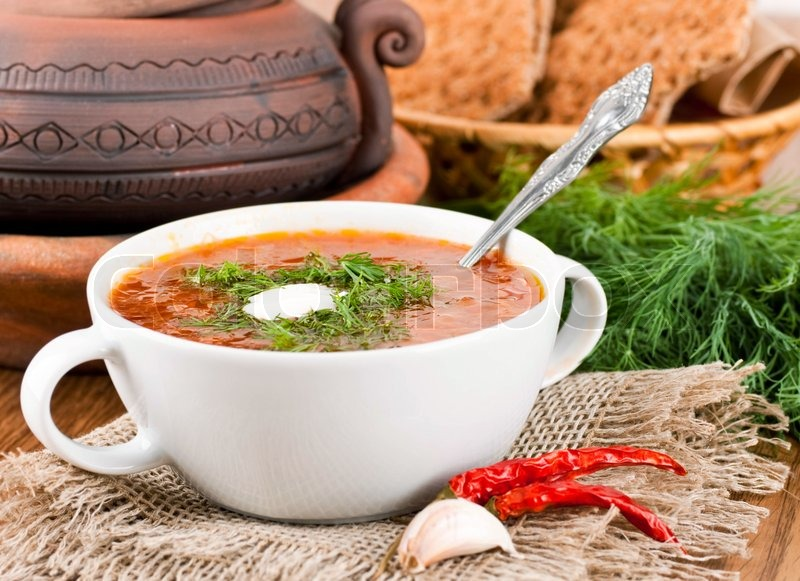 Borsch, soup from a beet and cabbage with tomato sauce An ...
