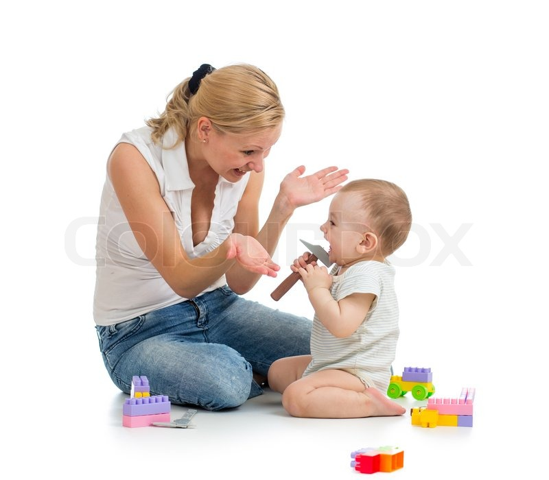 Mom Play Toys : Baby boy and mother playing together with construction set