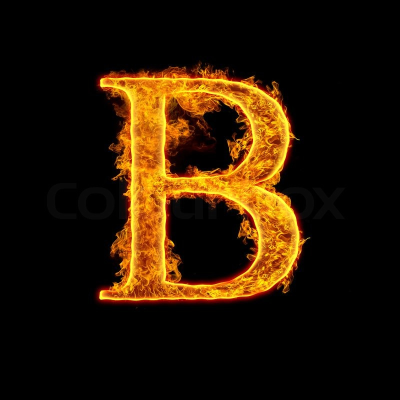 Fire alphabet letter B isolated on black background