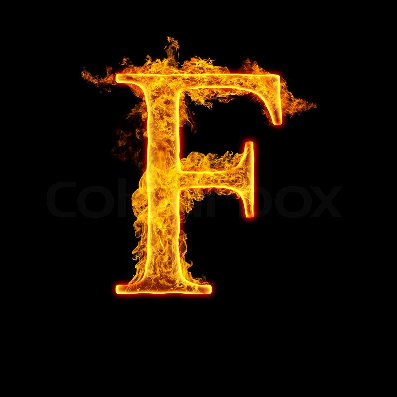 Fire Alphabet Letter F Isolated On Black Background Stock Photo