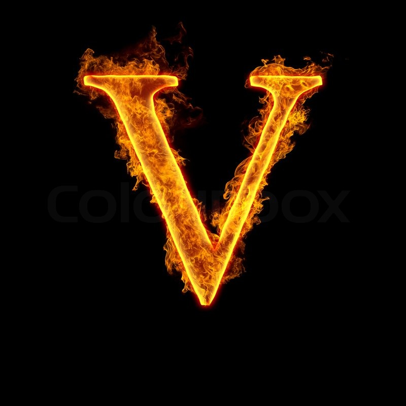Fire alphabet letter V | Stock Photo | Colourbox