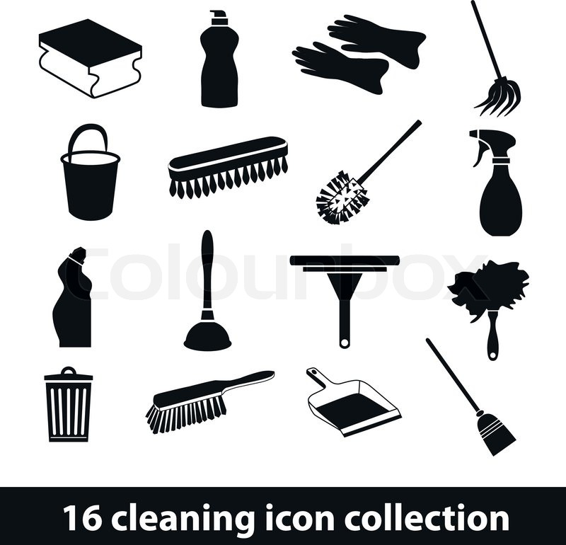 16 Cleaning Icon Collection Stock Vector Colourbox