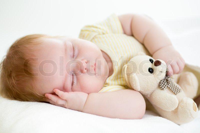 neugeborenes baby schlafen stockfoto colourbox. Black Bedroom Furniture Sets. Home Design Ideas