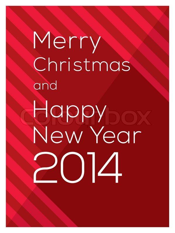 Moderne grafisk design Glædelig Jul og Godt Nytår 2014 ord på rød Vector Baggrund | stock vektor ...
