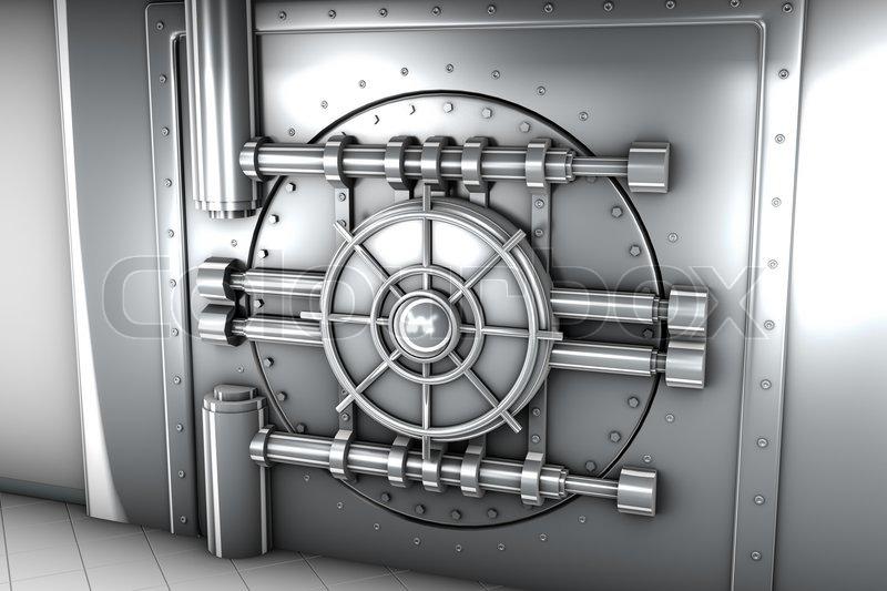 Illustration Of Bank Vault Door Front View Stock Photo