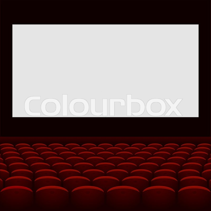 cinema theatre with screen and seats vector stock
