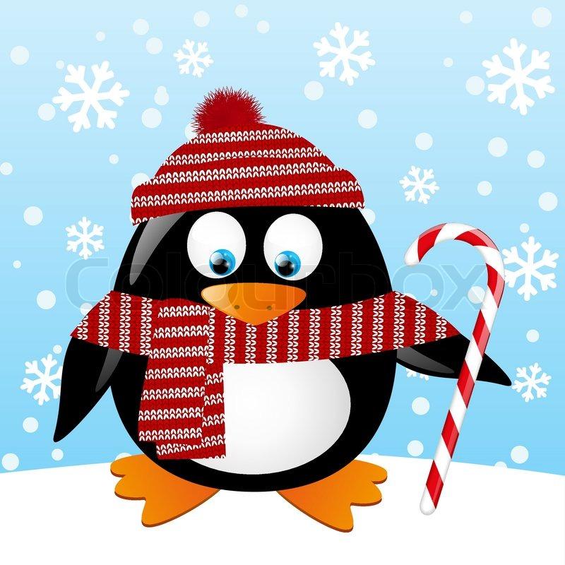 Новогодняя открытка с пингвином