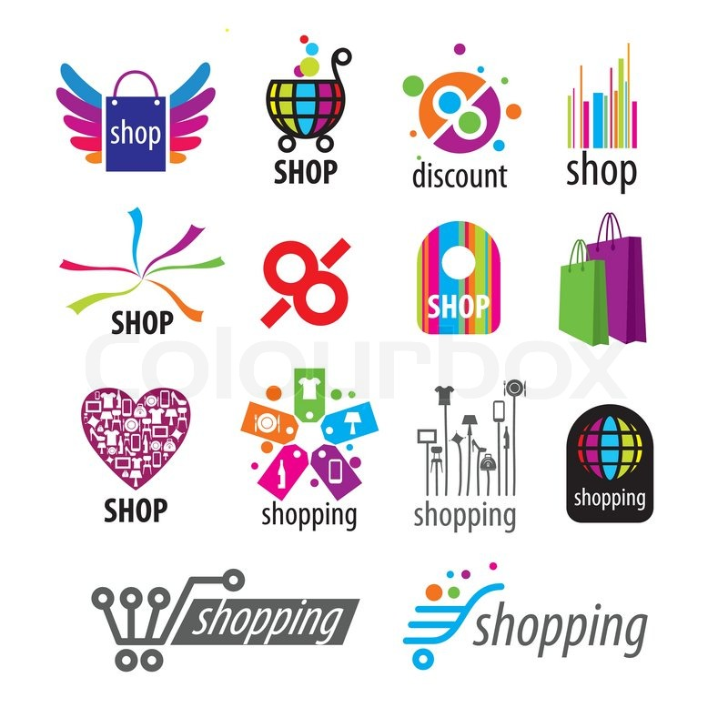 collection of vector logos and shopping discounts stock