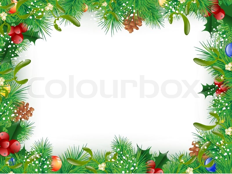 christmas and new year fir tree decorative frame copyspace stock vector colourbox