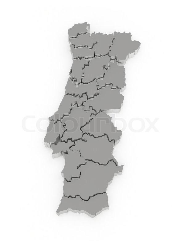 Tre Dimensionel Kort Over Portugal Stock Foto Colourbox