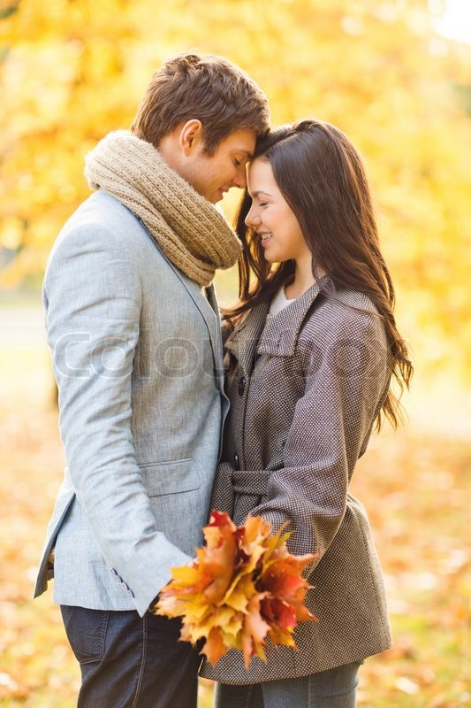 Romantic Couple Kissing In The Autumn Park  Stock Photo -3008