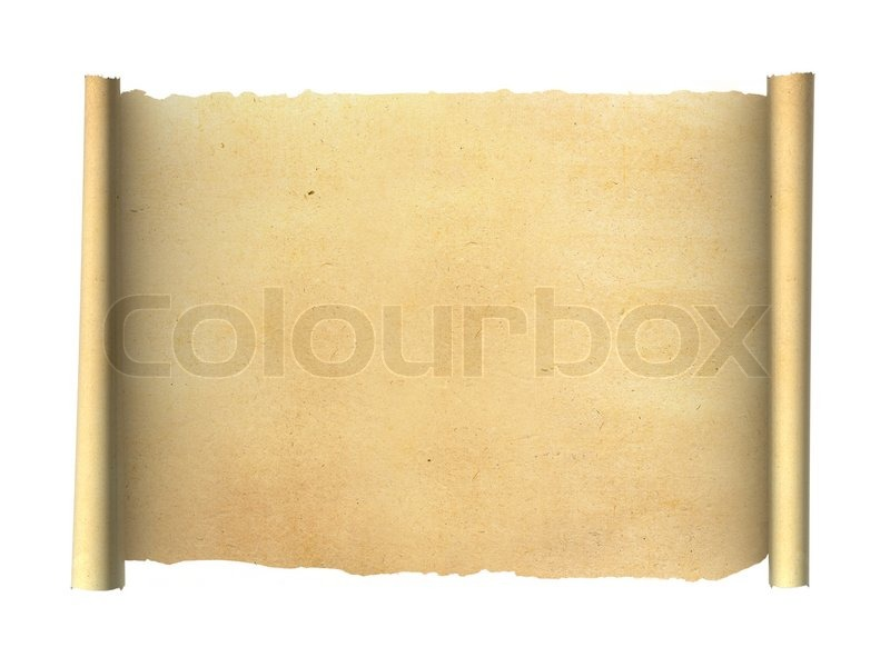 old vintage scroll isolated on white background | stock photo, Powerpoint templates