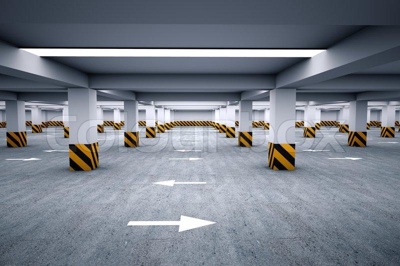 Empty Underground Parking Area 3d Render Stock Photo