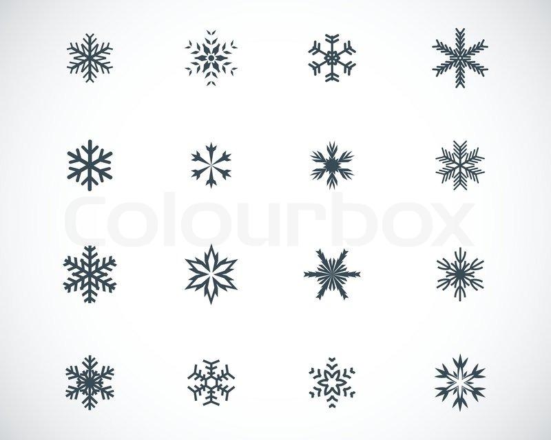 Vector schwarze Schneeflocke Icons | Vektorgrafik | Colourbox