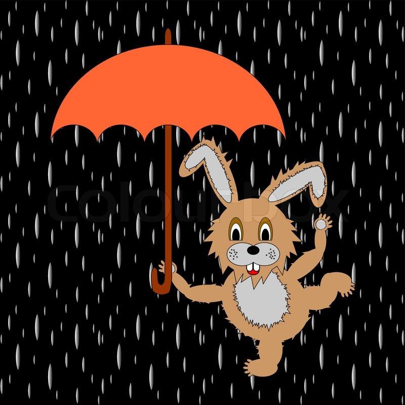 eine lustige kaninchen mit regenschirm in der regen stock vektor colourbox. Black Bedroom Furniture Sets. Home Design Ideas