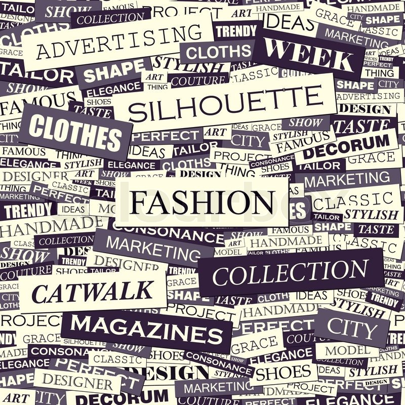 FASHION. Seamless Pattern. Concept Related Words In Tag