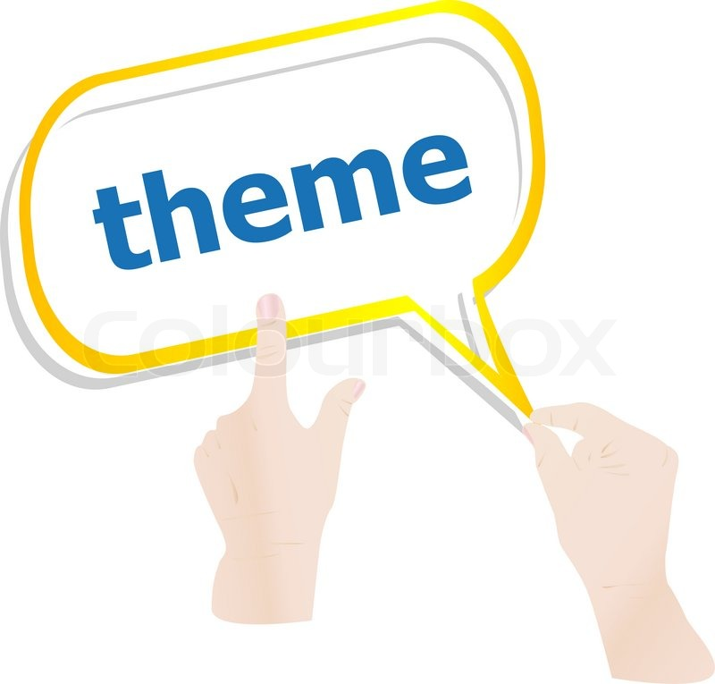 hands push word theme on speech bubbles stock photo colourbox