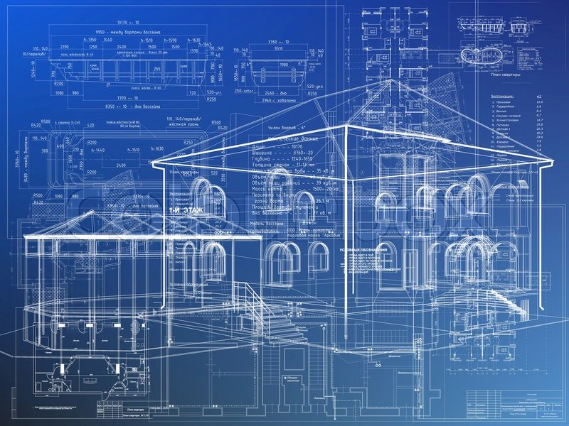 Blueprint Architecture House Plan Background Stock