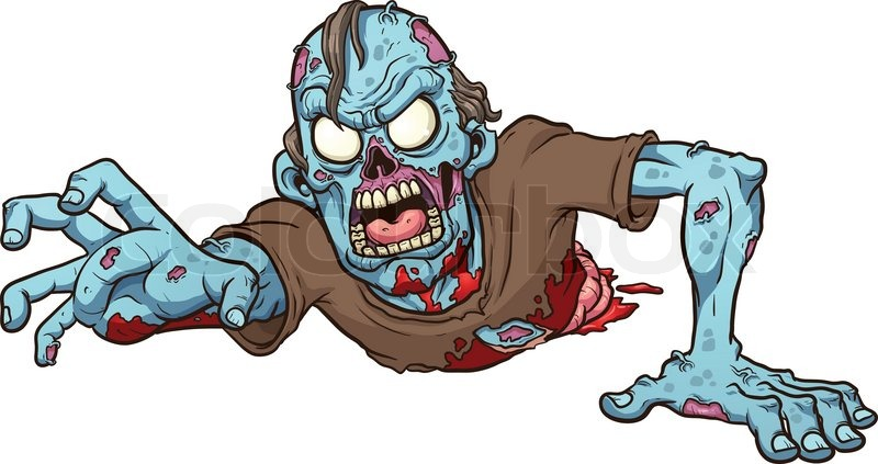 Cartoon crawling zombie. Vector clip art illustration with ...